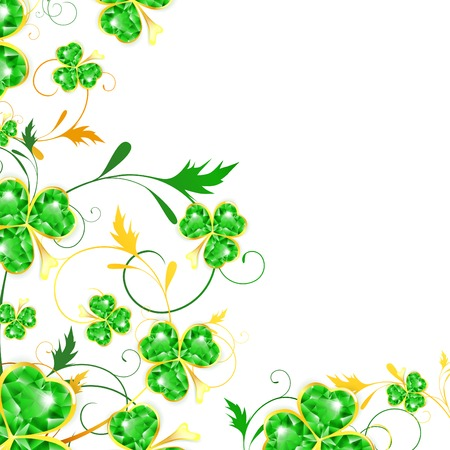 lucky clover: St.Patrick floral frame with jewelry shamrocks, copyspace