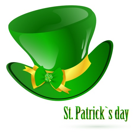 St.Patrick green hat with decorative bow and emerald shamrock Vector