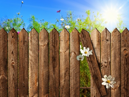 picket fence: wooden fence over the courtyard with sky and sun