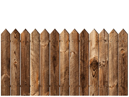 fencing: valla de madera sobre el backgroynd blanco