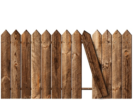 fence panel: wooden fence over the white backgroynd