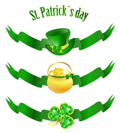 patrick: St.Patrick day banners with golden po, hat and emerald shamrock over white Illustration
