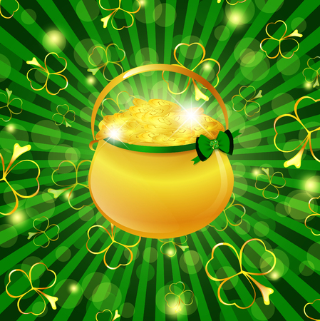 gold treasure: St.Patrick day theme: golden pot with money over green background with shamrocks Illustration