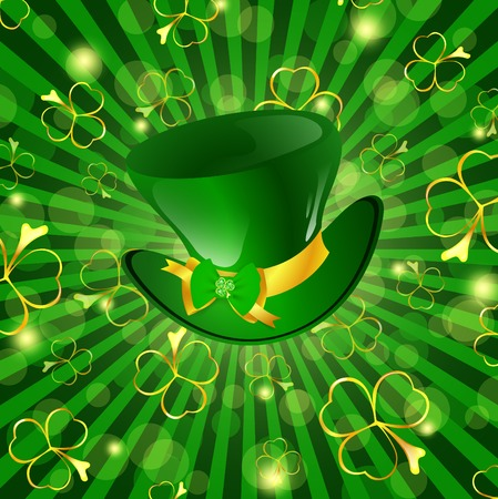 St.Patrick day theme: hat with bow over green background with shamrocks Stock Vector - 8858275