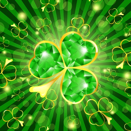 St.Patrick day theme: emerald shamrock over green background Vektoros illusztráció
