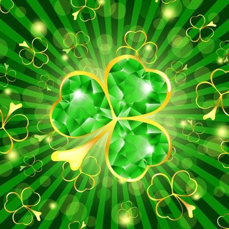 brillant: St.Patrick Tag Theme: Emerald Shamrock �ber gr�n hintergrund