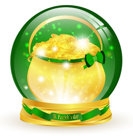 St.Patrick magic glossy ball with golden pot Stock Vector - 8858273
