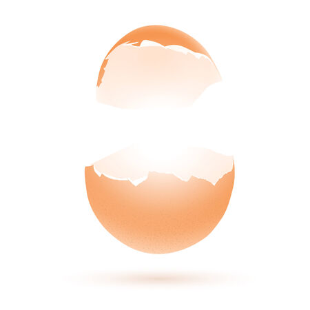 broken egg: Easter greeting theme with broken egg and copyspace for your text over white background