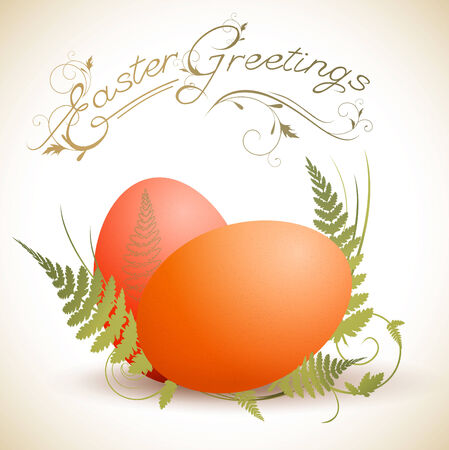 Easter greeting theme with eggs and green fern  Vector