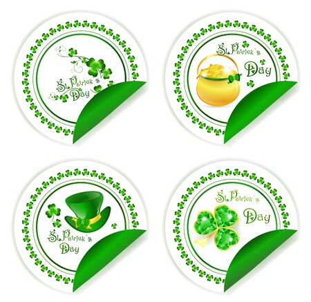 St.Patrick day labels with golden pot, hat and emerald shamrock over white Vector