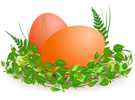 Easter theme with eggs and green leaves Vector