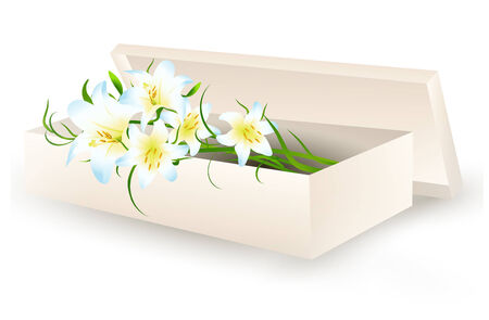 postcard box: white lily flowers bouquet in gift box over white background