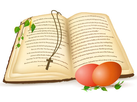 Easter theme with open old Bible and eggs Stock Vector - 9035365