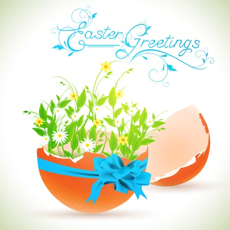 яичная скорлупа: Easter greeting theme with decorated eggshell and flowers