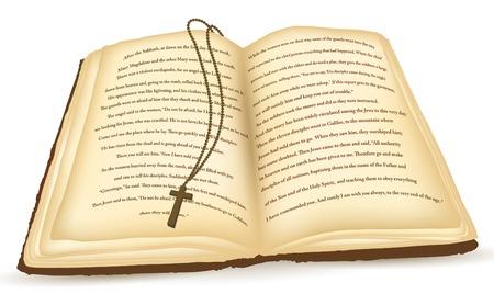 biblia: Antiguo abre la Biblia con Cruz sobre fondo blanco