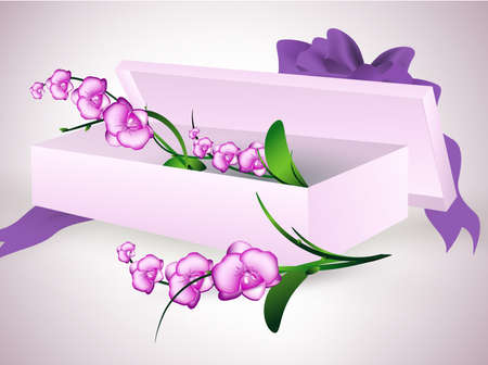 postcard box: orchid flowers bouquet in gift box with purple ribbon bow