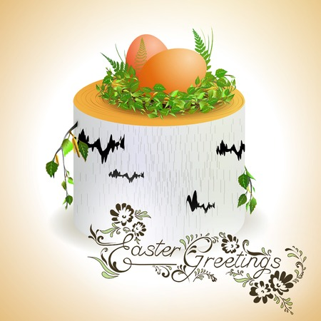 Easter theme with eggs at birch stump   Stock Vector - 9035360