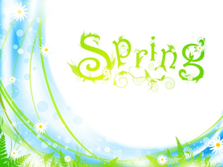 sample text: spring frame with green grass and flowers Illustration