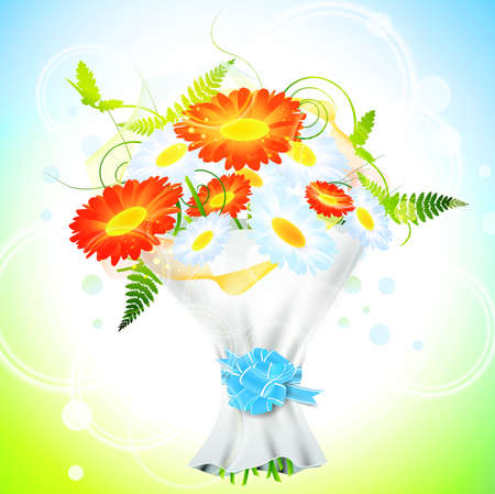 ribbin: bright flower bouquet with ribbon bow over holiday background