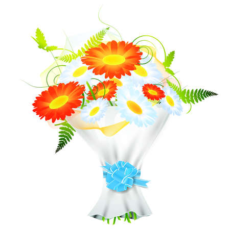 ribbin: bright flower bouquet with ribbon bow over white background