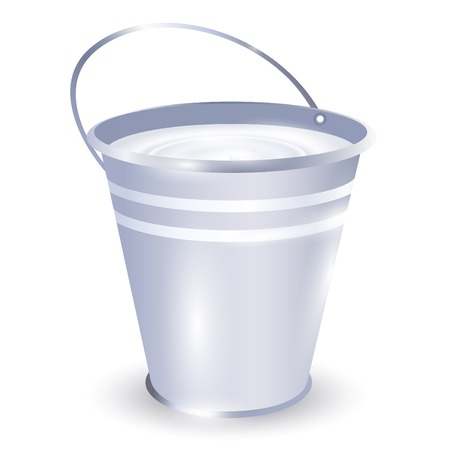 milk pail: metal bucket with milk over white background