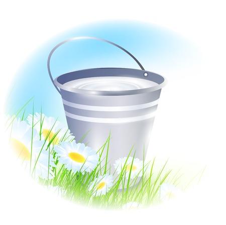 metal bucket with milk over summer meadow Stock Vector - 9083198