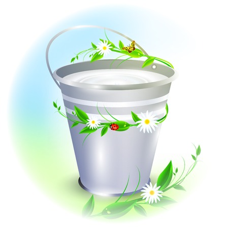 metal bucket with milk decorated with summer twigs Vector