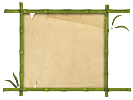 lacerate: illustration of bamboo frame with leaves and paper Stock Photo