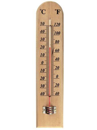 fahrenheit: madera term�metro fahrenheit cent�grado sobre blanco