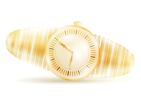 golden watch over white background Stock Vector - 9162073