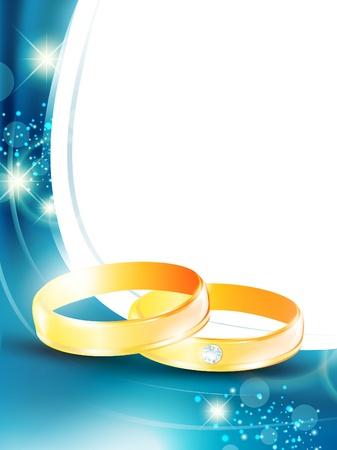 cornice da sposa con anelli di nozze d'oro e copyspace