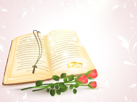 vangelo aperto: wedding theme with opened Bible, golden rings and roses Vettoriali