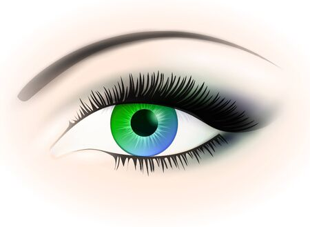blue and green woman opened eye