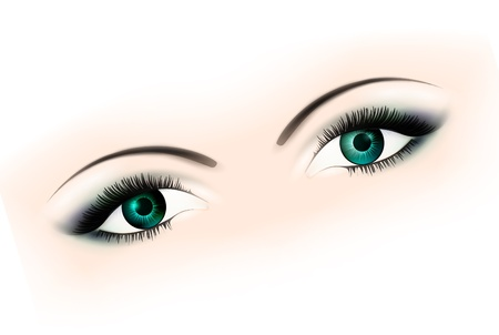 woman eyes with makeup over white Stock Vector - 9209171