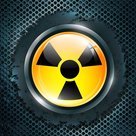 deadly danger sign: radiation sign at metal grid