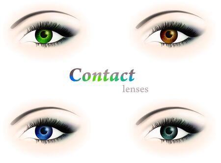 four different colour eyes with contact lenses: brown, blue, green and grey  Stock Vector - 9296575