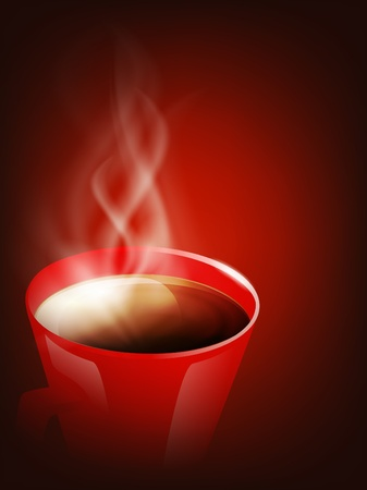 teacups: red cup of coffee with steam over brown background