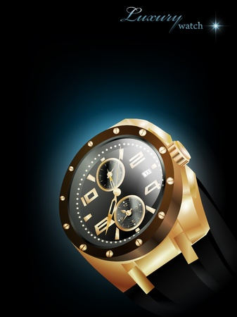 Man golden luxury watch over dark background Vector