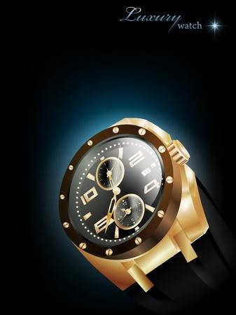 mans watch: Reloj de lujo hombre dorado sobre fondo oscuro