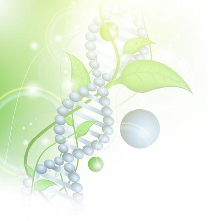 quimica organica: Tema de ciencia biol�gica con ADN y brotes sobre fondo verde Vectores