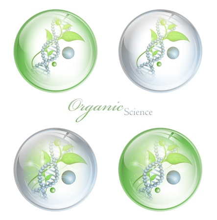 medicament: Organic Science glossy balls with DNA and green leaves over white background