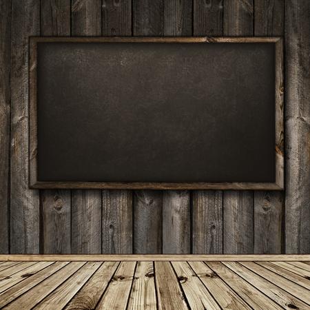 Photo of empty natural wooden interior with blackboard Archivio Fotografico