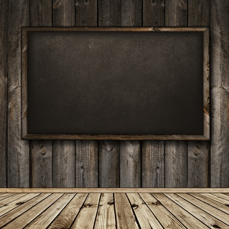 Photo of empty natural wooden interior with blackboard Stock Photo