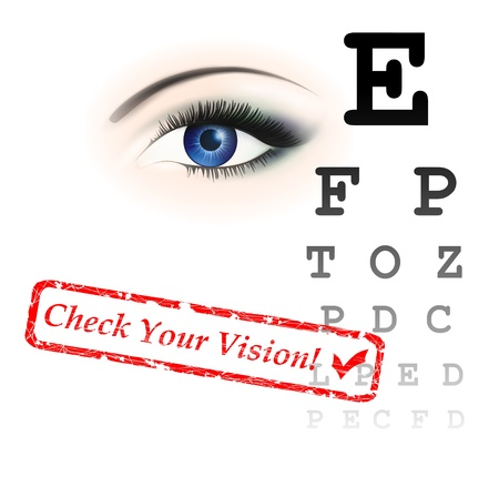 health check: vision test theme with eye and chart