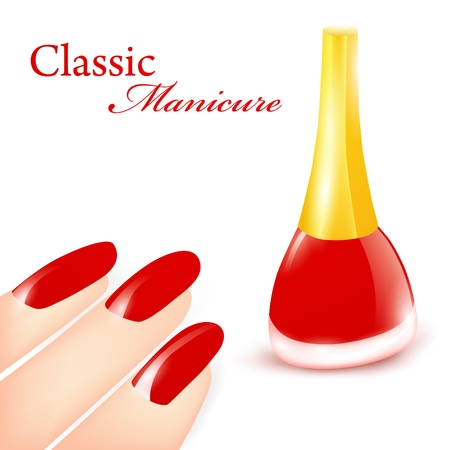 Red Nail polish in classic manicure illustration Stock Vector - 9452453