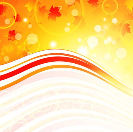 Autumn maple leaves bright abstract wavy frame with copyspace Stock Vector - 9506818