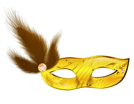 Carnival woman mask with feathers over white Stock Vector - 9506816