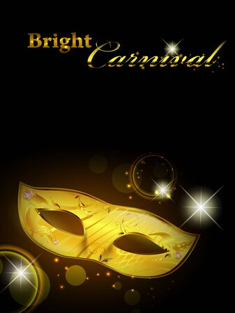 Carnival theme with golden woman mask in the night