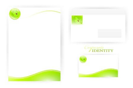 set of corporate identity templates with green  eco elements Stock Vector - 9562484