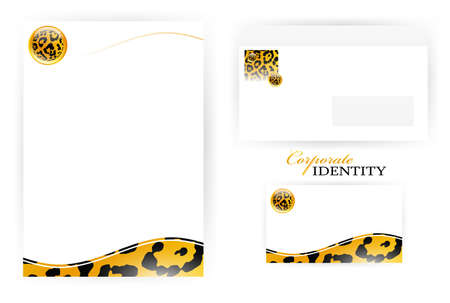 set of corporate identity templates with  leopard pattern set Vector